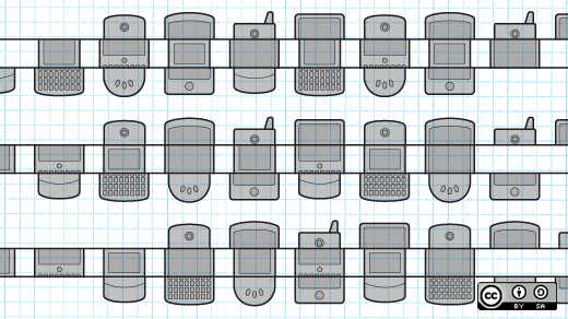 Outline drawings of many types of smart phones